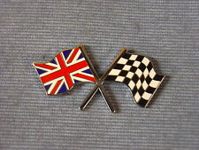 NEW AUSTIN HEALEY CROSS UNION JACK CHEQUERED FLAG ENAMEL DECAL BADGE