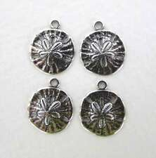 Antiqued Silver Ox Charm Ocean Sand Dollar Drop Round 13mm