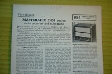 Vintage 1956 BRT Test Report No.R84 Masteradio D154 Series Radio Receivers/Grams