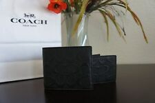 NWT COACH F57371 MEN COMPACT ID WALLET SIGNATURE CROSSGRAIN LEATHER BLK