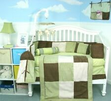 BOY GIRL CRIB BEDDING SET LIME GREEN & SUEDE Baby Nursery 14 Pc Quilt Sheet+ NEW