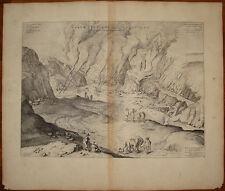 Stampa antica Forum Vulcani Solfatara Napoli P. Mortier 1704 blaeu old print