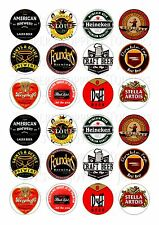 24 BEER  LABELS CUPCAKE TOPPER WAFER RICE EDIBLE FAIRY CAKE BUN TOPPERS