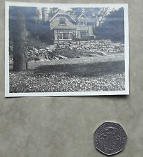 Vintage pre-war photograph of old house with gables Black and white