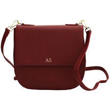 PERSONALISED MONOGRAMMED Leather Cross Body Bag Women's Handbags Burgundy Red