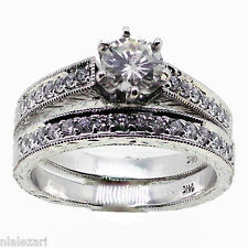 1.09 ct Round Cut Diamond Engagement Ring With Band G Color Si1 14k gold size 7