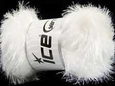100 Gram White Eyelash Glitz #46549-35794 Ice Sparkly White Eyelash Yarn 153 yds
