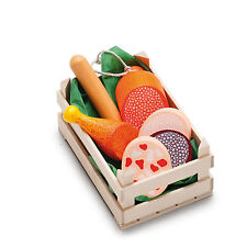 Wooden pretend role play food Erzi play kitchen shop: Crate of Sausage Selection