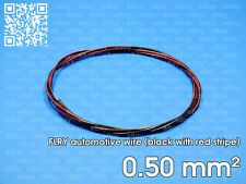Automotive wire FLRY 0.5mm², black color with red stripe, 1 meter length