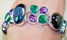 SPECTACULAR!! DRUZY, GENUINE EMERALD & FACETED AMETHYST 925 SILVER BRACELET