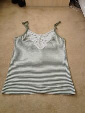 green and cream mk one vest top size 10