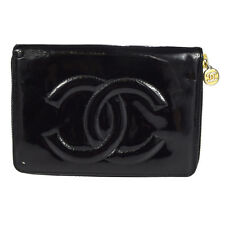 Authentic CHANEL CC Long Zippy Bifold Wallet Purse Patent Leather Black 61M117