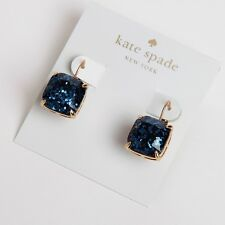 KATE SPADE 12K Gold Plated Square Navy Blue Glitter Drop Earrings W/KS Dust Bag