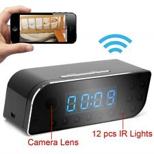 WIRELESS WIFI SPY CAMERA RECORDER in DIGITAL CLOCK 160º LENS & MOTION DETECTION