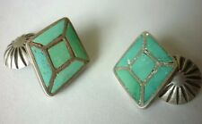 GORGEOUS CHANNEL INLAY Zuni Royston Green TURQUOISE STERLING Concha Cufflinks