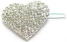 New Silver Tone Prong Set Austrian Crystal Heart Hair Clip Wedding Prom