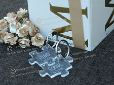 Personalised Puzzle Clear Keyrings, Wedding, Valentines, Anniversaries., Gifts