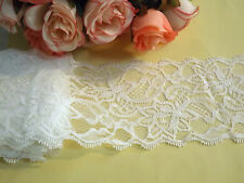 Ivory White Stretch Lace Trim 8.5 cm wide #6WE623R 1 metre