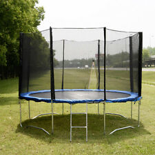 12 FT Trampoline Combo Bounce Jump Safety Enclosure Net W/Spring Pad & Ladd