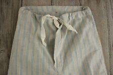 FLANNEL Vintage European Pajamas bottoms SOFT  cotton blue striped PJ's