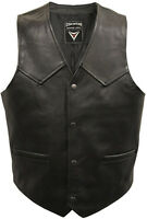 Mens FULL Real LEATHER MOTORCYCLE Biker WAISTCOAT Vest - Plain or Lace Sided