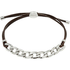 FOSSIL SILVER TONE,ADJUSTABLE BROWN CORD,CHAIN LINK CRYSTALS BRACELET JF01485040