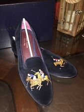 Ralph Lauren Purple Label Collis Polo Players Navy Blue Sz 9.5 Made In Italy New