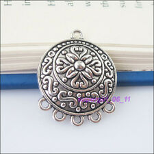 2Pcs Tibetan Silver Round Flower Charms Pendants Connectors 23x28.5mm