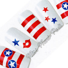 Nail Art Water Transfers Decals USA America Flag Stars Stripes Kiss T121