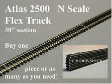 "ATLAS N SCALE 2500 CODE 80 SUPER FLEX 30"" STRAIGHT black ties track atl 2500 NEW"