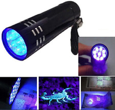 UV Ultra Violet 9 LED Flashlight Mini Blacklight Tactical Torch Light Lamp Black