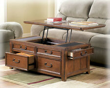 Coffee Table W Lift Top Trunk Flip Up Storage Drawers Wood Cocktail Tables Desk
