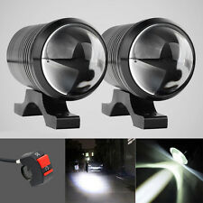2x CREE U1 Lens LED Motorcycle Headlight Driving Fog Light Spot Lamp+Free Switch