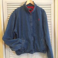 Vintage Polo Ralph Lauren Blue Denim Jacket Red Lining Made in USA Large Golf