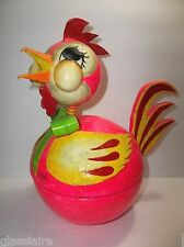Vintage Mexican Folk Art DE SELA Paper Mache CANDY CONTAINER Rooster LARGE 12""