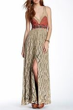 NWT FREE PEOPLE Sz6 CRUSHED GOLD PARTY EMBELLISHED DRESS BLACKENED GOLD $400.