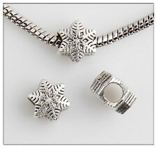 30pcs Snowflake Tibetan Silver Bead Fit European Charm Bracelet Findings