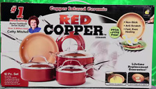 NEW As Seen On TV Red Copper Pan Ceramic Cookware 10 Piece Set