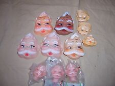 Vtge Santa Face Doll Lot Plastic Dollmaking Craft DIY Project ART Christmas