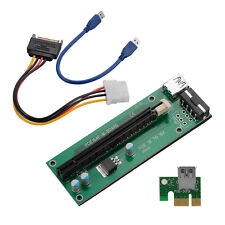 USB 3.0 PCI-E Express 1x to16x Extender Riser Card Adapter SATA Power Cable M