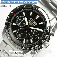 SEIKO SSB031 SSB031P Chronograph Tachymeter 100m Black New Men's Watch Japan F/S
