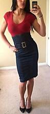 Miss Sixty High Waist Belt Denim Jeans Skirt Pencil Wiggle Dress Corset Sexy S/M