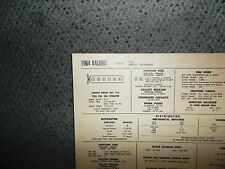 1964 Plymouth Valiant SIX Series VVI Special Equipment 225 CI L6 Tune Up Chart