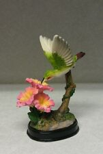 Hummingbird Figurine Three Flowesr Pink Outside Birds Nector