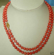 """AAA charming Jewelry7-8mm Red Coral Necklace 64"""""""