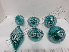 Frontgate Christmas Teal Silver Glitter Ornaments Jewel Tone Glass Set 6