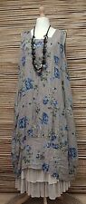 LAGENLOOK LINEN AMAZING FLORAL 2 POCKETS  DRESS*BEIGE/BLUE*Sz XL-XXL BUST 52-54""