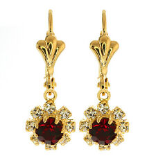 3/4 Inch Red Round Cubic Zirconia CZ Flower Gold Plated Womens Earrings