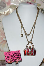 2 PC BETSEY JOHNSON RED CRYSTAL HANDBAG NECKLACE  RED MISMATCH EARRINGS  NEW