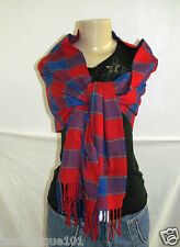 NWT HOLLISTER WOMENS RED BLUE PLAID PREPPY COLD WEATHER SCARF